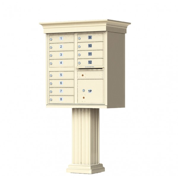 12 Tenant Door Classic Decorative CBU Mailbox (Pedestal Included) - Type 2 - 1570-12AF-DC
