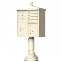 8 Tenant Door Traditional Decorative Style Mailbox (Pedestal Included) - Type 1 - 1570-8AF-DT
