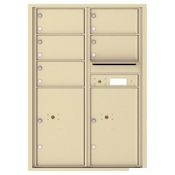5 Oversized Tenant Doors with 2 Parcel Lockers and Outgoing Mail Compartment - 4C Wall Mount 12-High Mailboxes - 4C12D-05