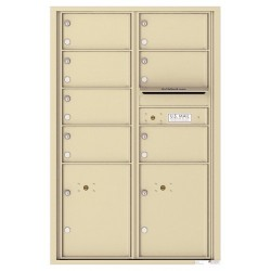 7 Oversized Tenant Doors with 2 Parcel Lockers and Outgoing Mail Compartment - 4C Wall Mount 13-High Mailboxes - 4C13D-07