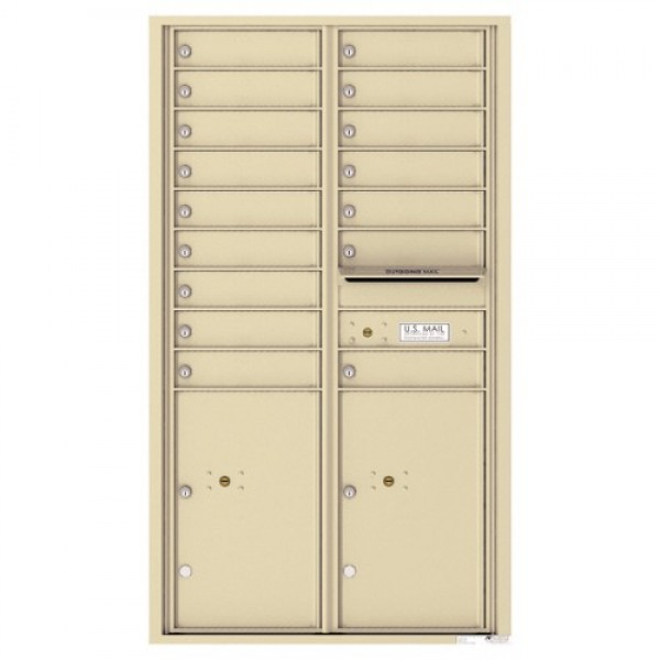 16 Tenant Doors with 2 Parcel Lockers and Outgoing Mail Compartment - 4C Wall Mount 15-High Mailboxes - 4C15D-16