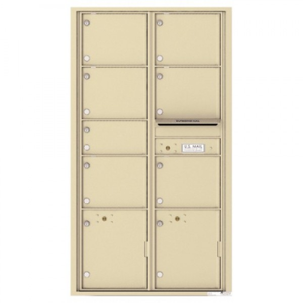 7 Oversized Tenant Doors with 2 Parcel Lockers and Outgoing Mail Compartment - 4C Wall Mount Max Height Mailboxes - 4C16D-07