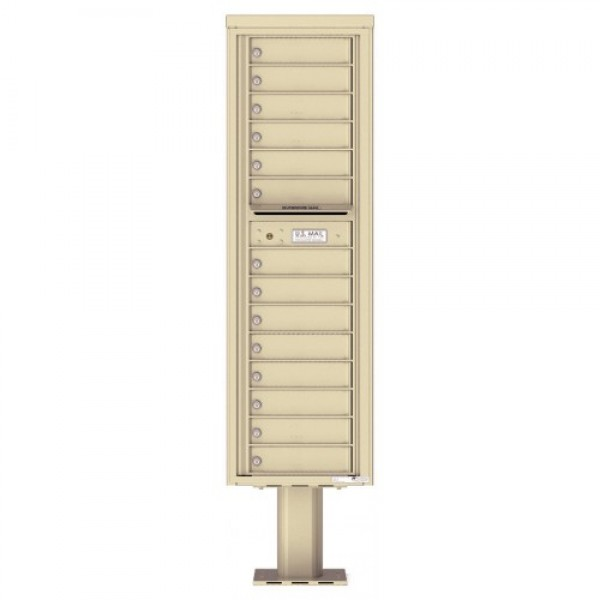 14 Tenant Doors with Outgoing Mail Compartment (Pedestal Included) - 4C Pedestal Mount Max Height Mailboxes - 4C16S-14-P
