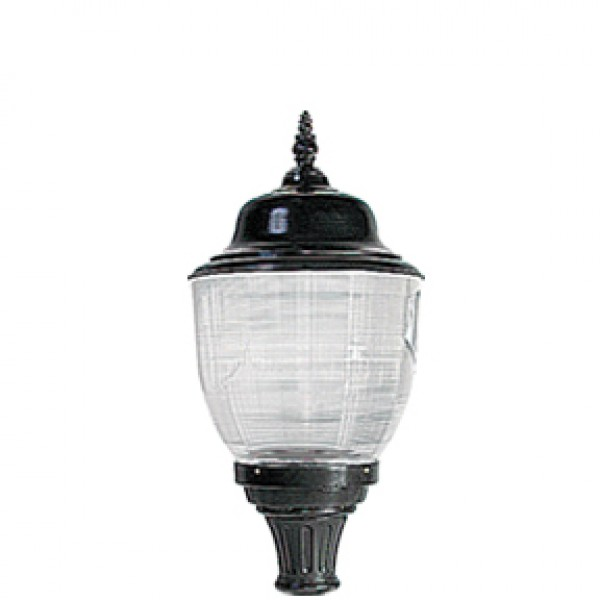 AME2 - Luminaire with prismatic type III globe, globe holder, spin cast top, decorative GF-2 finial