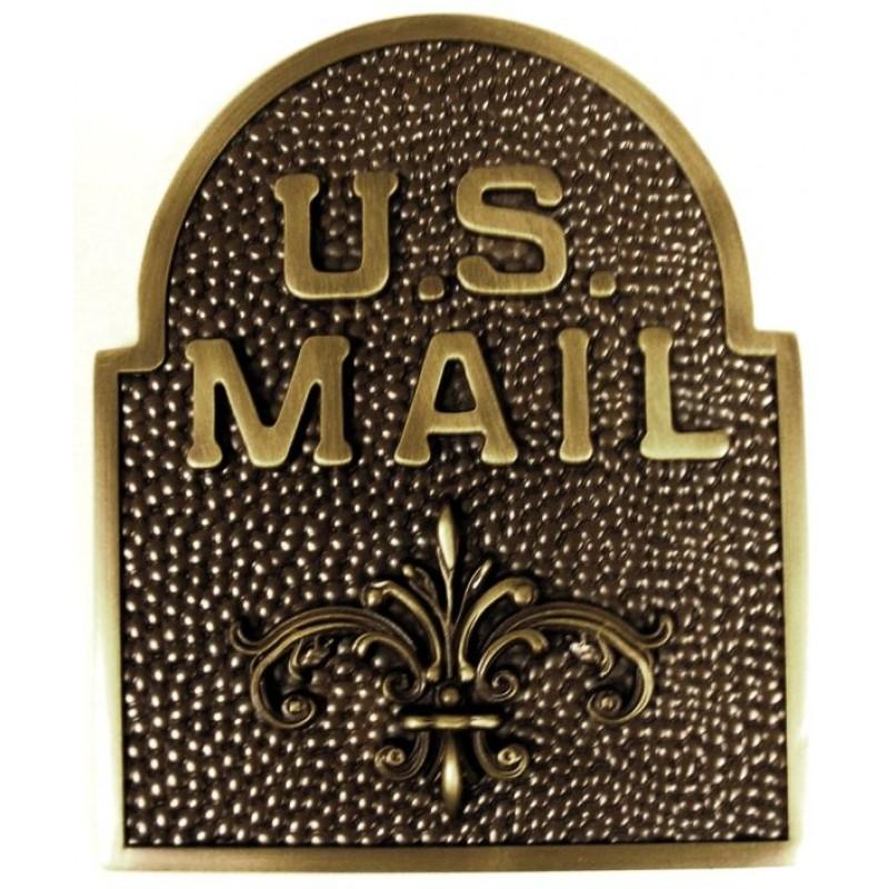 US MAIL ABF / Fleur De Lis Door Accent   Antique Bronze