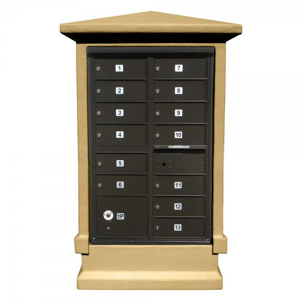 Estateview Stucco CBU Mailbox Center - Tall Pedestal (Stucco Column Only) For 13 or 16 Door CBU - Burnt Tuscan Color