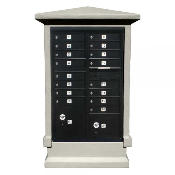 Estateview Stucco CBU Mailbox Center - Tall Pedestal (Stucco Column Only) For 13 or 16 Door CBU - Slate Gray Color