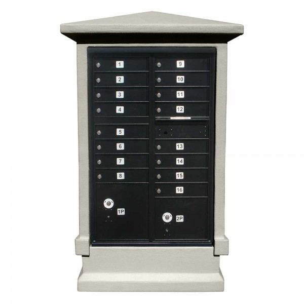 Estateview Stucco CBU Mailbox Center - Tall Pedestal (Stucco Column Only) For 13 or 16 Door CBU - Non-Painted