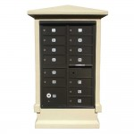 Estateview Stucco CBU Mailbox Center - Tall Pedestal (Stucco Column Only) For 13 or 16 Door CBU - Sandstone Color