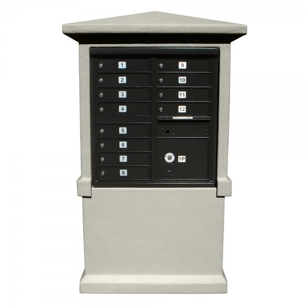Estateview Stucco CBU Mailbox Center - Tall Pedestal (Stucco Column Only) For 8 or 12 Door CBU - Slate Gray Color
