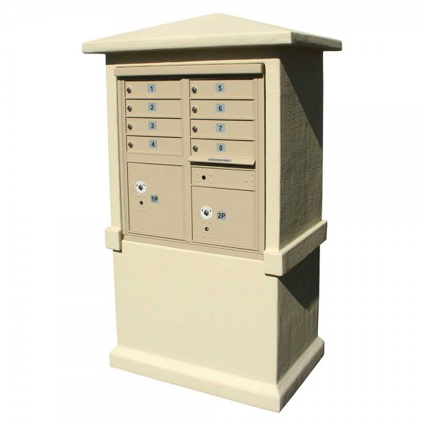 Estateview Stucco CBU Mailbox Center - Tall Pedestal (Stucco Column Only) For 8 or 12 Door CBU - Sandstone Color