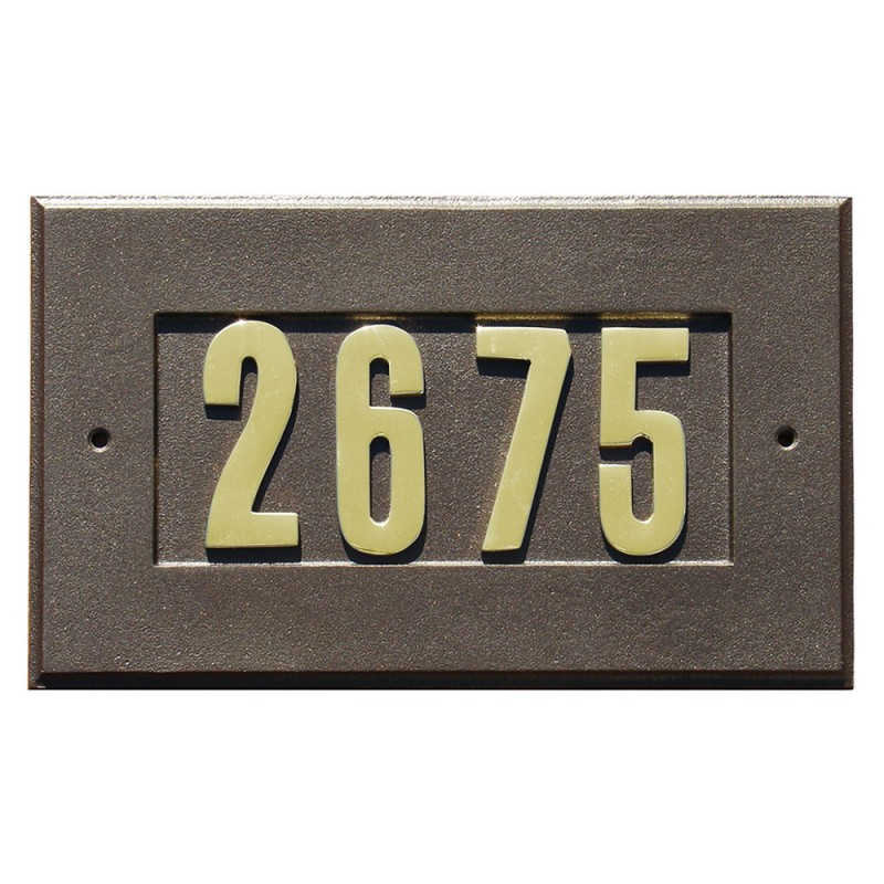 Manchester Address Plate With 3 Inch Gold Br Numbers Included Bronze Qualarc Add 1410 Bz