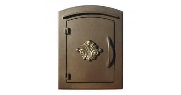 Manchester Column Mount Mailbox Non Locking With Decorative Scroll Logo Bronze Qualarc Man 1401 Bz